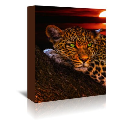 Americanflat Wonderful Dream Gepard Leopard Sunset Animal Cat Photographic Print Wrapped on Canvas