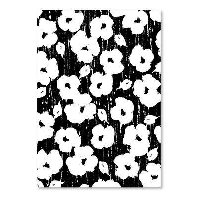 Americanflat 'Textured Petals Floral Black' by Chris Purcell Art Print