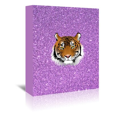 Americanflat Wonderful Dream Tiger Cat with Glitter Graphic Art Wrapped on Canvas