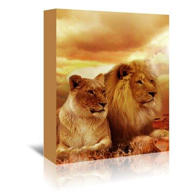 Americanflat Wonderful Dream Wildlife Lion Savannah Photographic Print Wrapped on Canvas