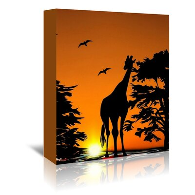 Americanflat Wonderful Dream Wildlife Giraffe with Sunset Photographic Print Wrapped on Canvas