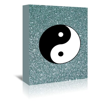 Americanflat Wonderful Dream Glitter Shiny with Ying and Yang Graphic Art Wrapped on Canvas