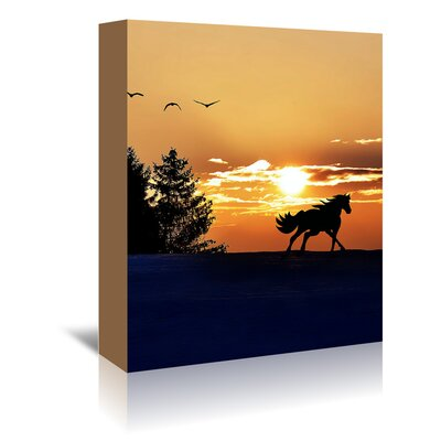 Americanflat Wonderful Dream Sunrise Horse Clouds Nature Photographic Print Wrapped on Canvas