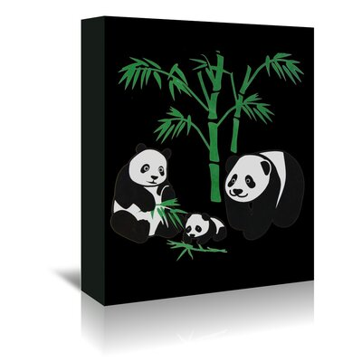 Americanflat Wonderful Dream Panda Bear Family with Bamboo Graphic Art Wrapped on Canvas