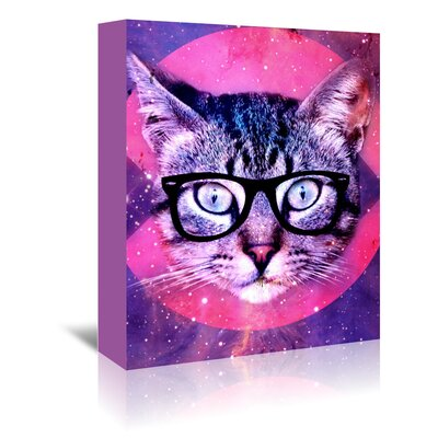 Americanflat Wonderful Dream Hipster Cat with Glasses Graphic Art Wrapped on Canvas
