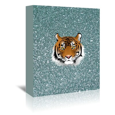 Americanflat Wonderful Dream Glitter Sparkly with Tiger Graphic Art Wrapped on Canvas