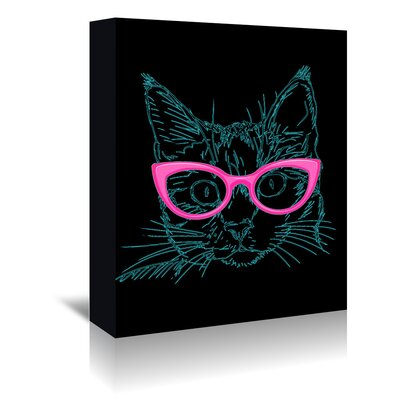Americanflat Wonderful Dream Black Hipster Cat with Pink Glasses Graphic Art Wrapped on Canvas