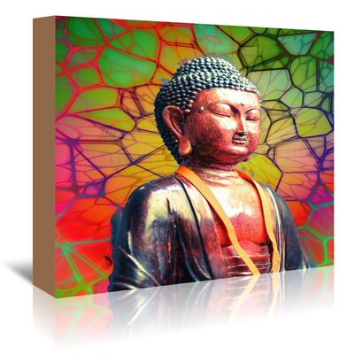 Americanflat Wonderful Dream Buddha with Mosaic Background Graphic Art Wrapped on Canvas