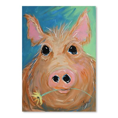 Americanflat 'Pig with Yellow Flower' by Terri Einer Art Print