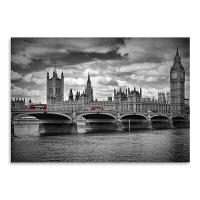 Americanflat 'London Houses of Parliament & Red Busses' by Melanie Viola Photographic Print