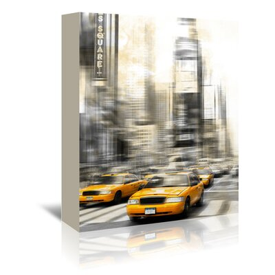 Americanflat City Art Times Square Yellow Cabs' by Melanie Viola Graphic Art Wrapped on Canvas