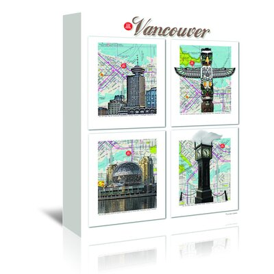 Americanflat 'Vancouver British Columbia' by Lyn Nance Sasser and Stephen Sasser Graphic Art Wrapped on Canvas