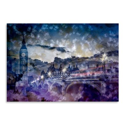 Americanflat City-Art London Westminster Bridge at Sunset' by Melanie Viola Graphic Art