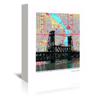Americanflat Steel Bridge Portland' by Lyn Nance Sasser Graphic Art Wrapped on Canvas