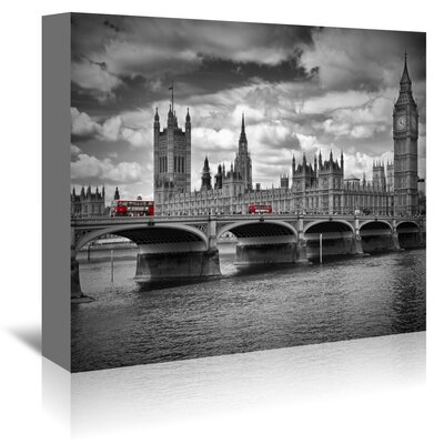 Americanflat London Houses of Parliament and Busses' by Melanie Viola Photographic Print Wrapped on Canvas