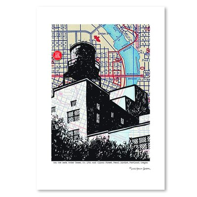 Americanflat Water Tower Portland' by Lyn Nance Sasser Graphic Art