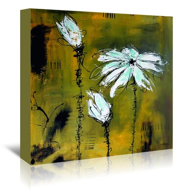 Americanflat 'White Flower Yellow 2' by Annie Rodrigue Art Print Wrapped on Canvas