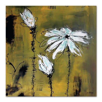 Americanflat 'White Flower Yellow 2' by Annie Rodrigue Art Print