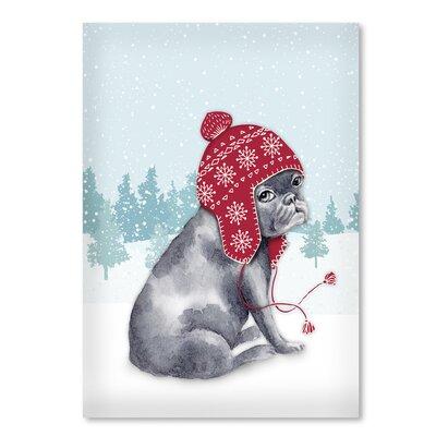 Americanflat 'Frenchie in snow' by Kristin Van Handel Graphic Art