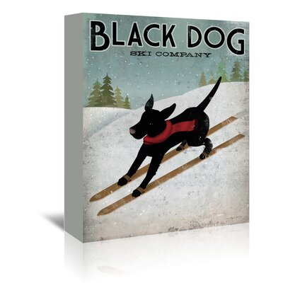 Americanflat 'Black Dog Ski' by Wild Apple Graphic Art Wrapped on Canvas