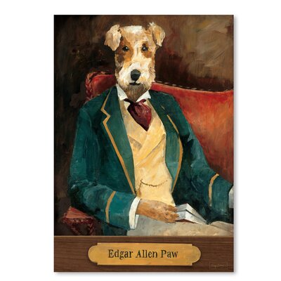 Americanflat 'Edgar Allen Paw with Plaque' by Wild Apple Art Print