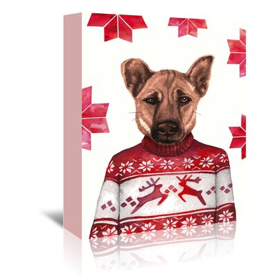 Americanflat 'Dog with Snowflake Background' by Kristin Van Handel Graphic Art Wrapped on Canvas