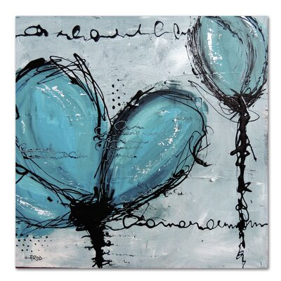 Americanflat 'Fleurs Turquoise' by Annie Rodrigue Art Print