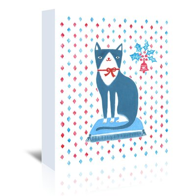Americanflat Blue Holiday Cat' by Advocate Art Graphic Art Wrapped on Canvas