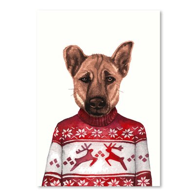 Americanflat 'Dog in Snowflake Sweater' by Kristin Van Handel Graphic Art