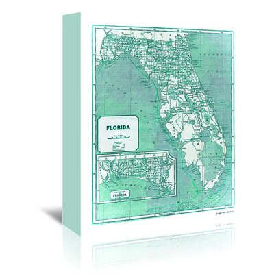 Americanflat 'Aqua 1842 Florida Map' by Graffi Tee Studios Graphic Art Wrapped on Canvas