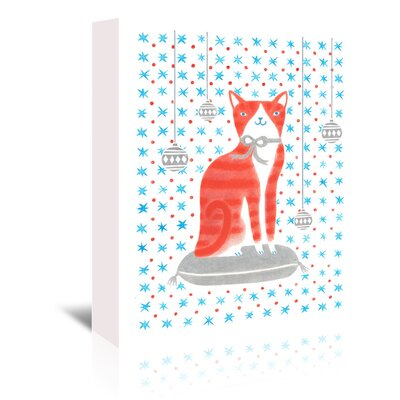 Americanflat 'Orange Holiday Cat' by Advocate Art Graphic Art Wrapped on Canvas