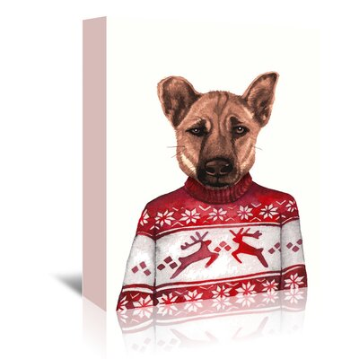 Americanflat Dog in Snowflake Sweater' by Kristin Van Handel Art Print Wrapped on Canvas