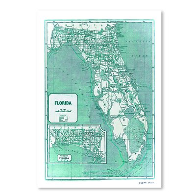 Americanflat 'Aqua 1842 Florida Map' by Graffi Tee Studios Graphic Art