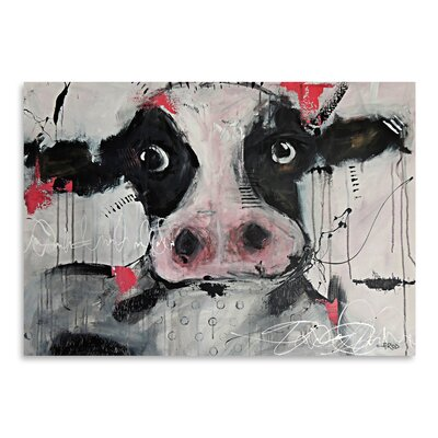 Americanflat Cow Pink' by Annie Rodrigue Art Print