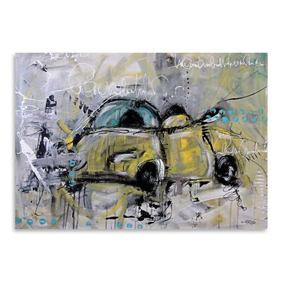 Americanflat 'Car Yellow' by Annie Rodrigue Art Print