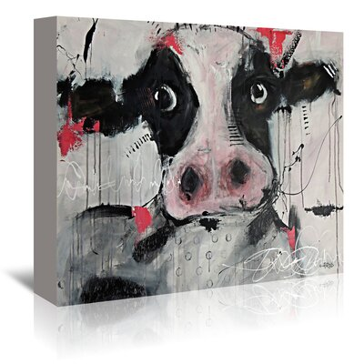 Americanflat Cow Pink' by Annie Rodrigue Art Print Wrapped on Canvas