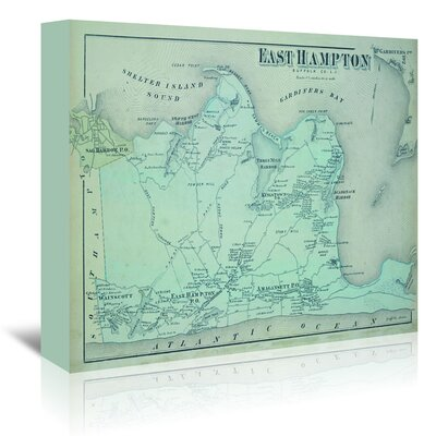 Americanflat 'East Hampton Suffolk County Li Map' by Graffi Tee Studios Graphic Art Wrapped on Canvas