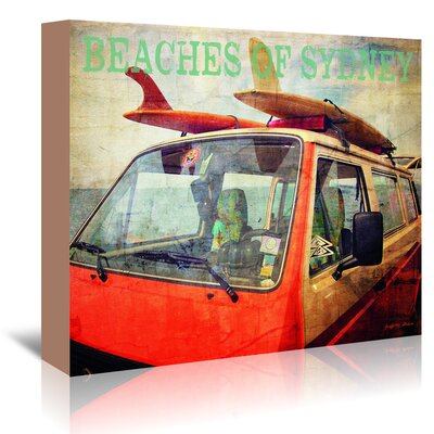 Americanflat 'Beaches of Sydney Surf Bus' by Graffi Tee Studios Graphic Art Wrapped on Canvas