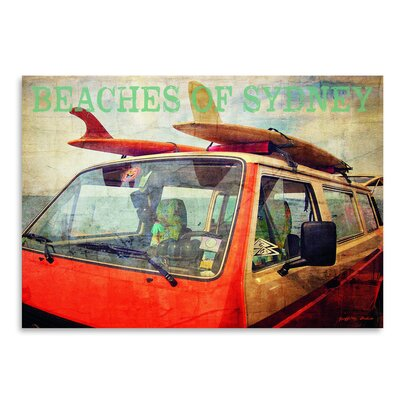 Americanflat 'Beaches of Sydney Surf Bus' by Graffi Tee Studios Graphic Art