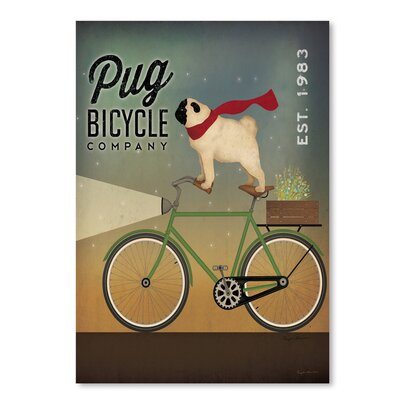 Americanflat 'Pug on A Bike' by Wild Apple Graphic Art