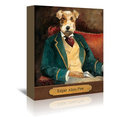 Americanflat Edgar Allen Paw with Plaque' by Wild Apple Graphic Art Wrapped on Canvas