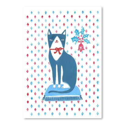 Americanflat 'Blue Holiday Cat' by Advocate Art Graphic Art