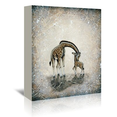 Americanflat My Love for You - Giraffes' by Britt Hallowell Art Print Wrapped on Canvas
