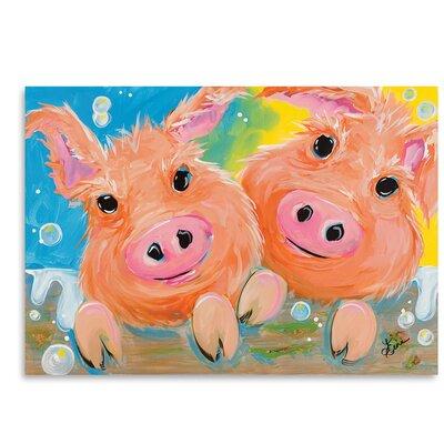 Americanflat Pig Duo' by Terri Einer Art Print
