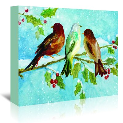 Americanflat 'Three Birds on Holly' by Advocate Art Art Print Wrapped on Canvas