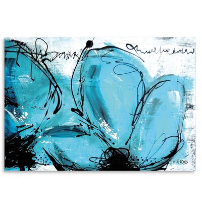 Americanflat Fleurs Turquoises' by Annie Rodrigue Art Print