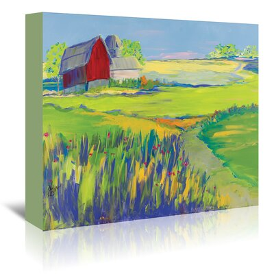 Americanflat 'Red Barn Landscape' by Terri Einer Art Print Wrapped on Canvas