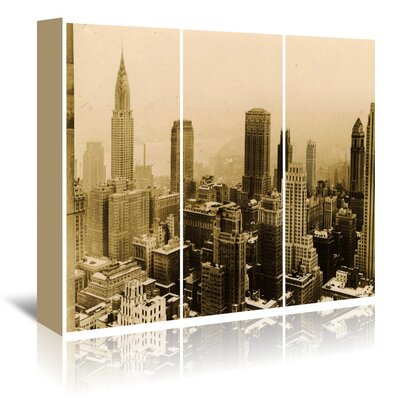 Americanflat 'Nyc 1935 Triptych' by Graffi Tee Studios Photographic Print Wrapped on Canvas