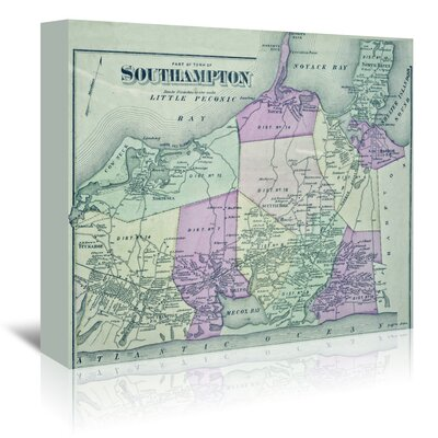 Americanflat 'South Hampton Ny Map' by Graffi Tee Studios Graphic Art Wrapped on Canvas