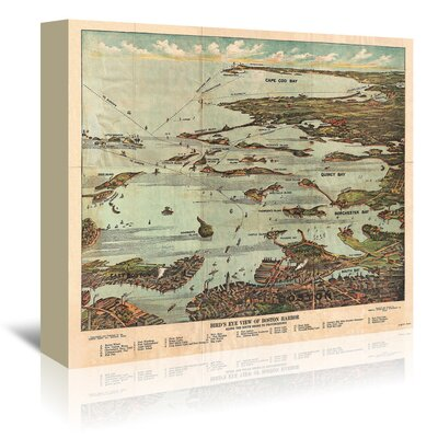 Americanflat View Map of Bstn Harbor From Bstn to Cape Cod' by Graffi Tee Studios Graphic Art Wrapped on Canvas